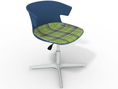 Elegante 4 Star Base Chair - Blue Tartan Green Aluminium