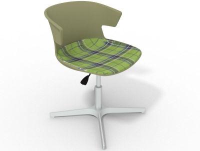 Elegante 4 Star Base Chair - Green Tartan Green Aluminium