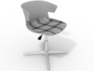 Elegante 4 Star Base Chair - Grey Tartan Grey Aluminium