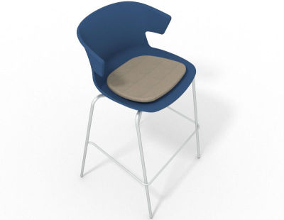 Elegante 4 Leg Bar Stool - With Seat Pad Blue Dove Grey