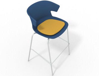 Elegante 4 Leg Bar Stool - With Seat Pad Blue Yellow