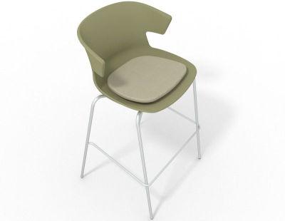 Elegante 4 Leg Bar Stool - With Seat Pad Green Beige