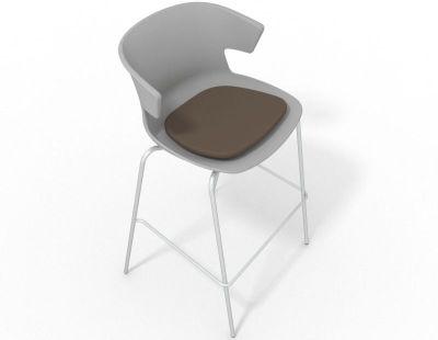 Elegante 4 Leg Bar Stool - With Seat Pad Grey Dark Brown