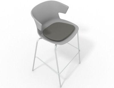 Elegante 4 Leg Bar Stool - With Seat Pad Grey Grey