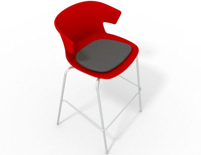 Elegante 4 Leg Bar Stool - With Seat Pad Red Dark Grey