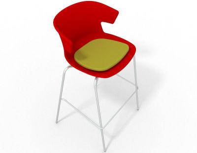 Elegante 4 Leg Bar Stool - With Seat Pad Red Light Green