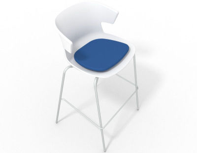 Elegante 4 Leg Bar Stool - With Seat Pad White Blue