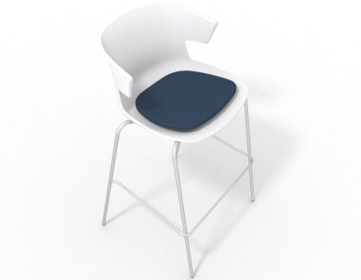 Elegante 4 Leg Bar Stool - With Seat Pad White Night Blue