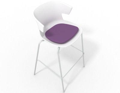 Elegante 4 Leg Bar Stool - With Seat Pad White Violet