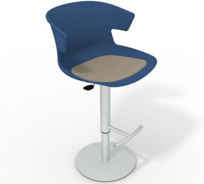 Elegante Height Adjustable Swivel Bar Stool - Seat Pad Blue Dove Grey