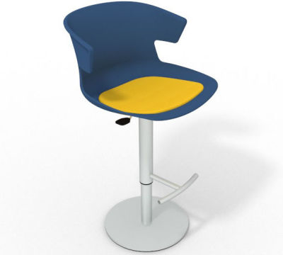 Elegante Height Adjustable Swivel Bar Stool - Seat Pad Blue Yellow