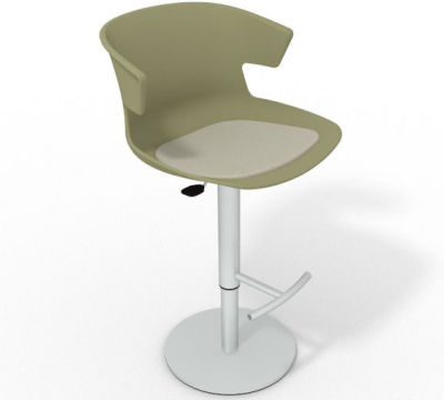 Elegante Height Adjustable Swivel Bar Stool - Seat Pad Green Beige
