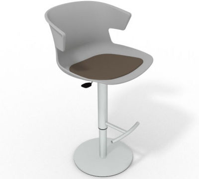 Elegante Height Adjustable Swivel Bar Stool - Seat Pad Grey Dark Brown