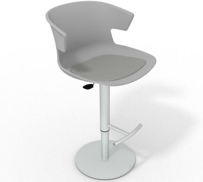 Elegante Height Adjustable Swivel Bar Stool - Seat Pad Grey Grey