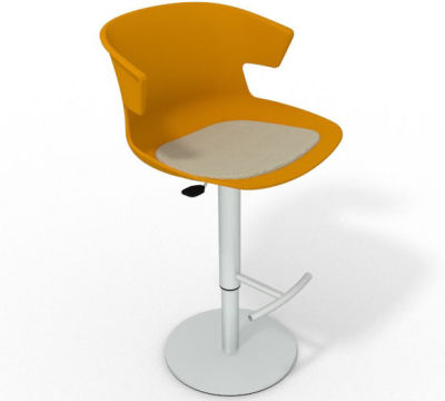 Elegante Height Adjustable Swivel Bar Stool - Seat Pad Ochre Beige