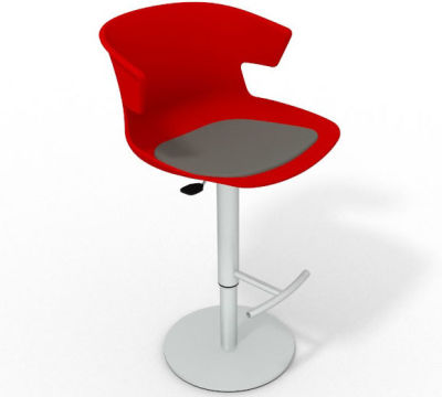 Elegante Height Adjustable Swivel Bar Stool - Seat Pad Red Dark Grey