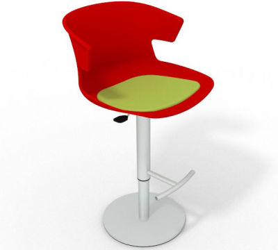 Elegante Height Adjustable Swivel Bar Stool - Seat Pad Red Light Green