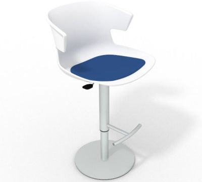 Elegante Height Adjustable Swivel Bar Stool - Seat Pad White Blue