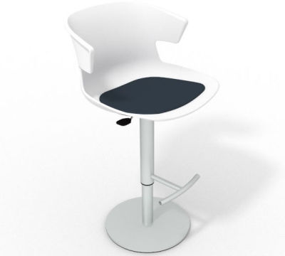 Elegante Height Adjustable Swivel Bar Stool - Seat Pad White Night Blue