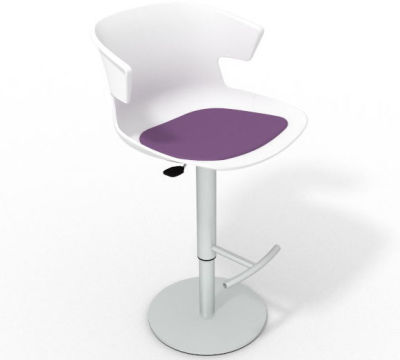 Elegante Height Adjustable Swivel Bar Stool - Seat Pad White Violet