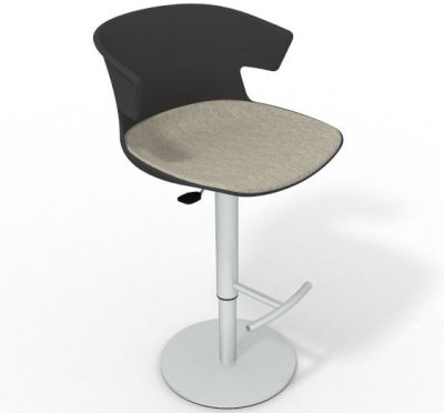 Elegante Height Adjustable Swivel Bar Stool - Large Seat Pad Anthracite Beige