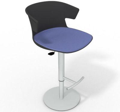 Elegante Height Adjustable Swivel Bar Stool - Large Seat Pad Anthracite Light Blue