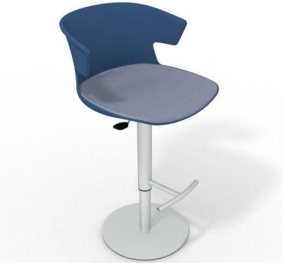 Elegante Height Adjustable Swivel Bar Stool - Large Seat Pad Blue Pidgeon Blue