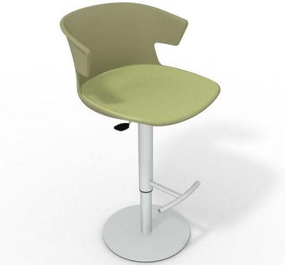 Elegante Height Adjustable Swivel Bar Stool - Large Seat Pad Green Light Green