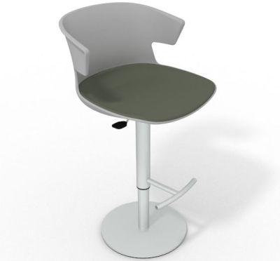 Elegante Height Adjustable Swivel Bar Stool - Large Seat Pad Grey Dark Green