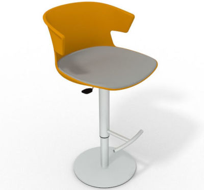 Elegante Height Adjustable Swivel Bar Stool - Large Seat Pad Ochre Grey