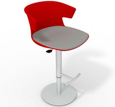 Elegante Height Adjustable Swivel Bar Stool - Large Seat Pad Red Grey