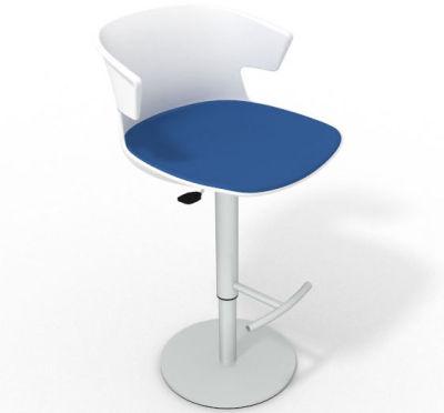 Elegante Height Adjustable Swivel Bar Stool - Large Seat Pad White Blue