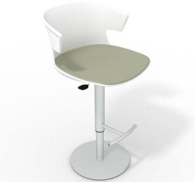 Elegante Height Adjustable Swivel Bar Stool - Large Seat Pad White Grey Olive