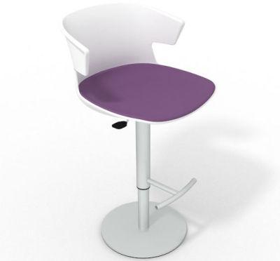 Elegante Height Adjustable Swivel Bar Stool - Large Seat Pad White Violet