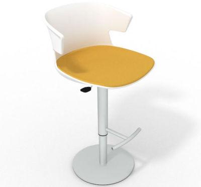 Elegante Height Adjustable Swivel Bar Stool - Large Seat Pad White Yellow