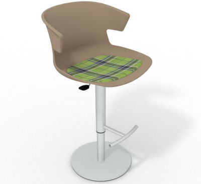 Elegante Height Adjustable Swivel Bar Stool - Feature Seat Pad Beige Green