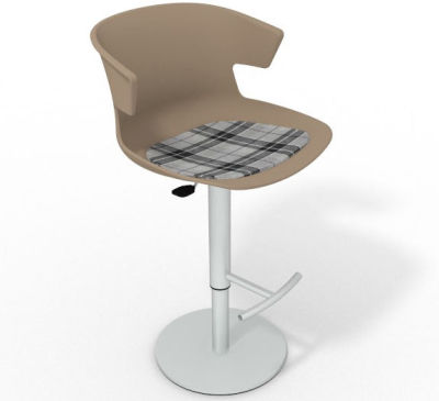 Elegante Height Adjustable Swivel Bar Stool - Feature Seat Pad Beige Grey