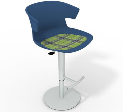 Elegante Height Adjustable Swivel Bar Stool - Feature Seat Pad Blue Green