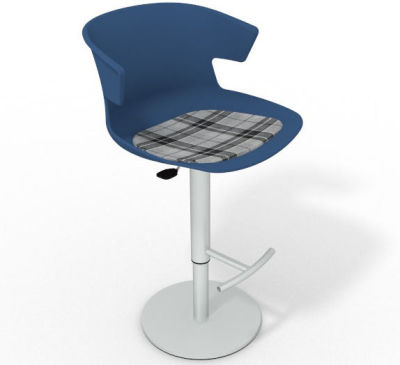 Elegante Height Adjustable Swivel Bar Stool - Feature Seat Pad Blue Grey