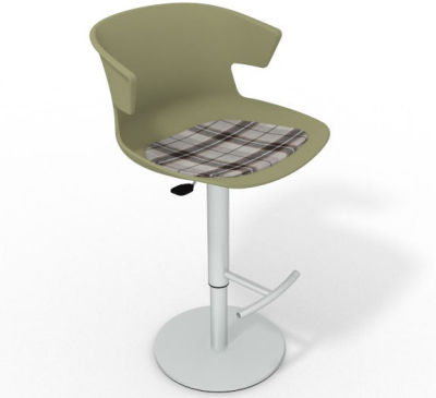 Elegante Height Adjustable Swivel Bar Stool - Feature Seat Pad Green Brown