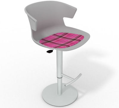 Elegante Height Adjustable Swivel Bar Stool - Feature Seat Pad Grey Pink