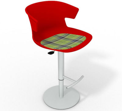 Elegante Height Adjustable Swivel Bar Stool - Feature Seat Pad Red Green