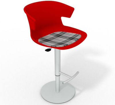 Elegante Height Adjustable Swivel Bar Stool - Feature Seat Pad Red Grey