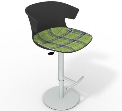 Elegante Height Adjustable Swivel Bar Stool - Large Feature Seat Pad Anthracite Green