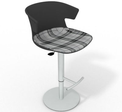 Elegante Height Adjustable Swivel Bar Stool - Large Feature Seat Pad Anthracite Grey