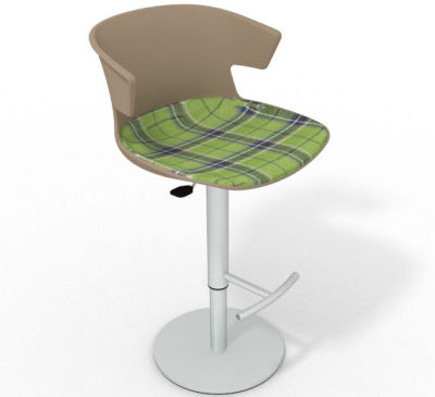 Elegante Height Adjustable Swivel Bar Stool - Large Feature Seat Pad Beige Green