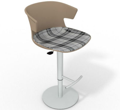 Elegante Height Adjustable Swivel Bar Stool - Large Feature Seat Pad Beige Grey