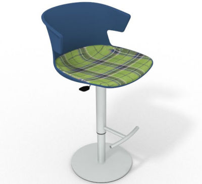 Elegante Height Adjustable Swivel Bar Stool - Large Feature Seat Pad Blue Green