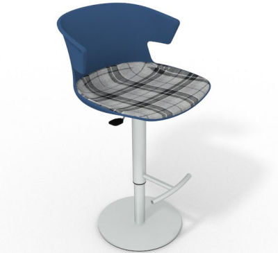 Elegante Height Adjustable Swivel Bar Stool - Large Feature Seat Pad Blue Grey