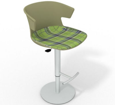 Elegante Height Adjustable Swivel Bar Stool - Large Feature Seat Pad Green Green